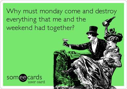 Why Must Monday Come And Destroy Everything That Me And The Weekend Had  Together? Ecards HumorHumor QuotesWine ...