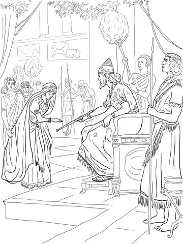 Esther and King Xerxes Coloring page   Purim   Pinterest   Imágenes ...