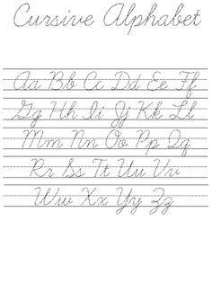 Cursive Alphabet Practice Sheet | Homeschool | Pinterest
