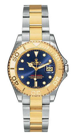 Rolex Yachtmaster Blue Index Dial Oyster Bracelet Two Tone Unisex Watch 8692 00 Rolexyachtmaster Luxurywatchesforwo Rolex Yacht Master Rolex Rolex Watches