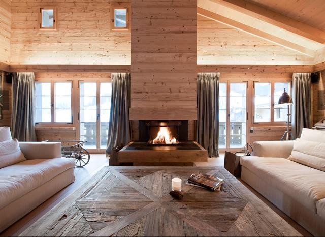 Salon design d'un chalet de montagne