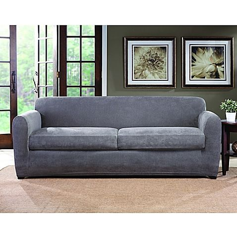 Small Sectional Sofa Sure Fit Ultimate Stretch Chenille Cushion Sofa Slipcover in Grey