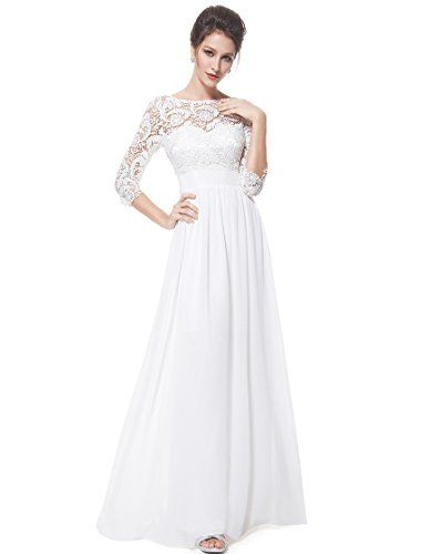 Ever Pretty Womens Long Lace Sleeve Chiffon Cheap Wedding Dress 14 US White