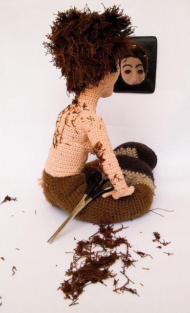 """Haircut""...Amazing Amigurumi Art by netamir, via Flickr"