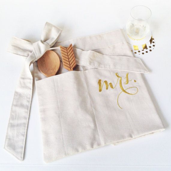 mrs. apron, bride to be gift, bridal shower gift, hostess gift, metallic gold embroidery