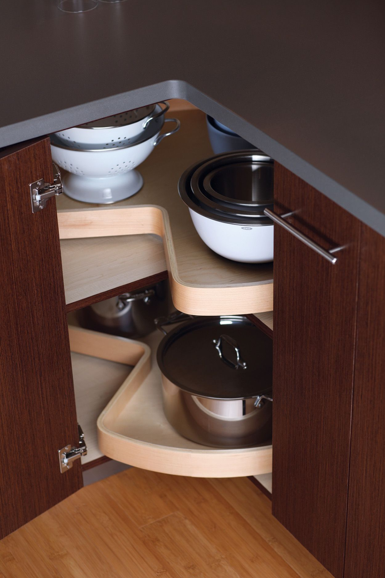 Dura Supreme S Giant Turntable Shelves Lazy Susan Swivel Inside The Cabinet And Utilize Corner Kitchen Cabinet Kitchen Cabinet Storage Solutions Tiny Kitchen