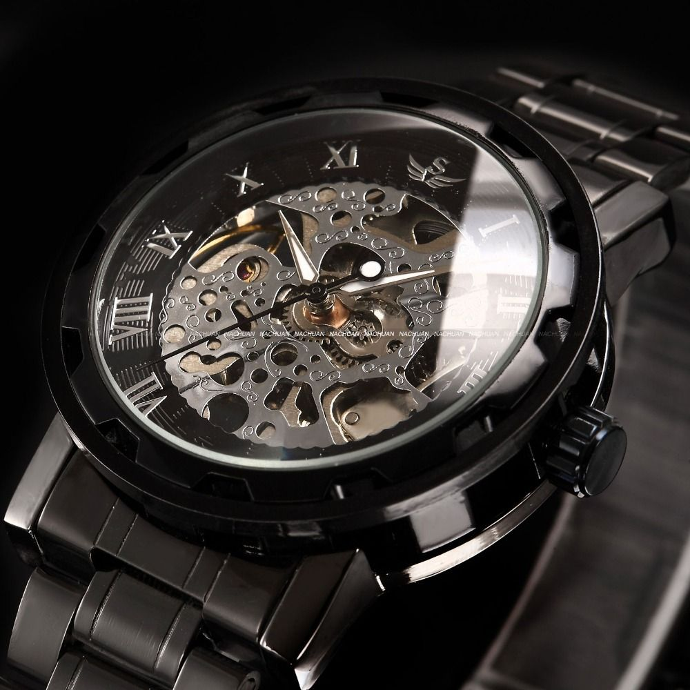 leather skeleton case watches mens shop watch transparent gold shoppinghuts mechanical men