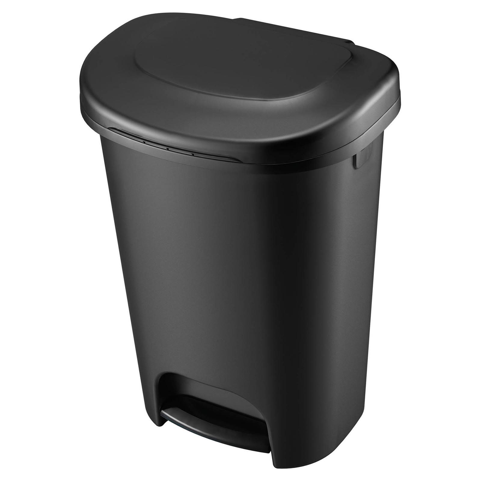 Rubbermaid 13 Gallon Step On Wastebasket Black Garbage Can Kitchen Trash Cans Canning