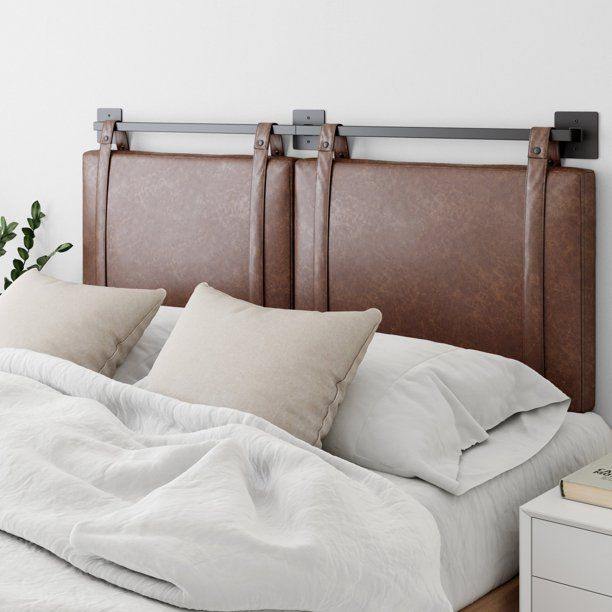 Nathan James Harlow Queen Full Wall Mount Headboard Faux Leather Upholstered Headboard Adjustable Height Vintage Brown Pu Leather Straps With Black Matte Meta In 2020 Wall Mounted Headboards Gray Upholstered Headboard Upholstered