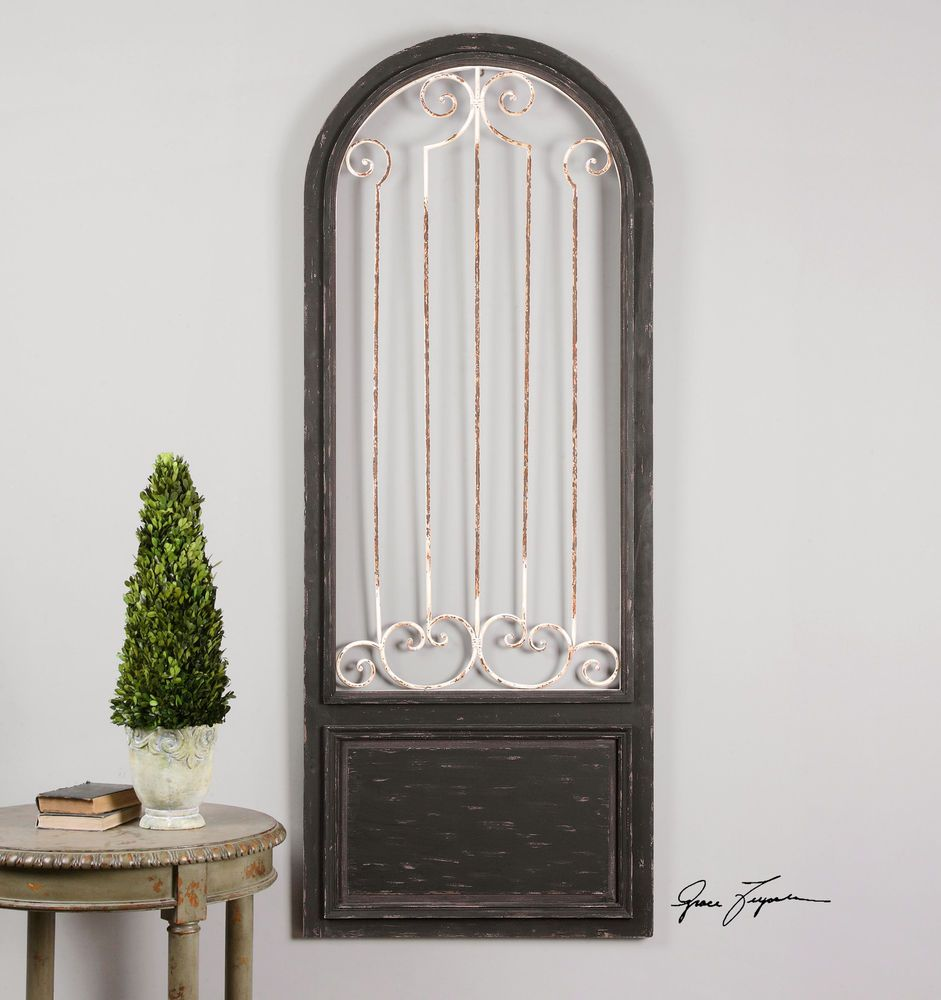"Wood And Metal Door Wall Decor Gorgeous 80"" Black Wood White Metal Scroll Antiqued Door Wall Art Rustic Design Decoration"