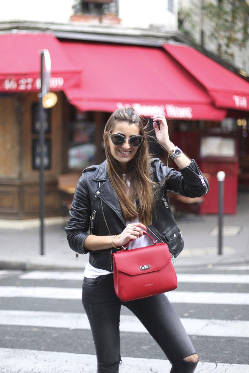 16, bartabac, blog, blogger, fashion, red, jeans, perfecto jacket, paris