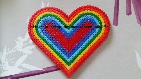 1maman2filles Perles Hama Coeur Arc En Ciel Brico Pâques Pinterest