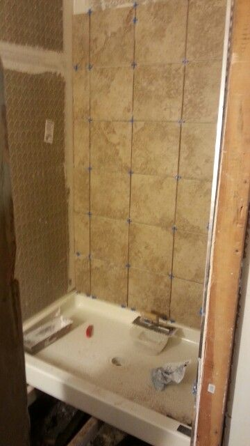 New 32x48 Walk In Shower Fiberglass Pan Cement Backer And Ceramic