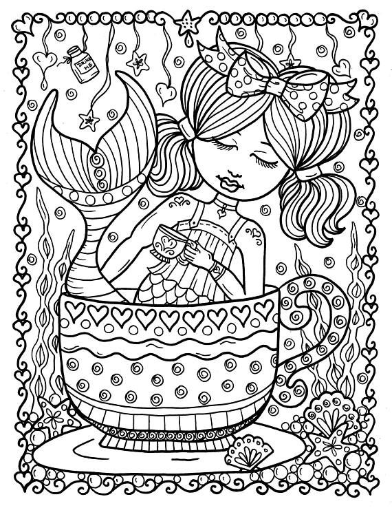 5 Pages Instant Download Alice In Waterland Coloring Pack Be Etsy Mermaid Coloring Pages Coloring Books Coloring Pages