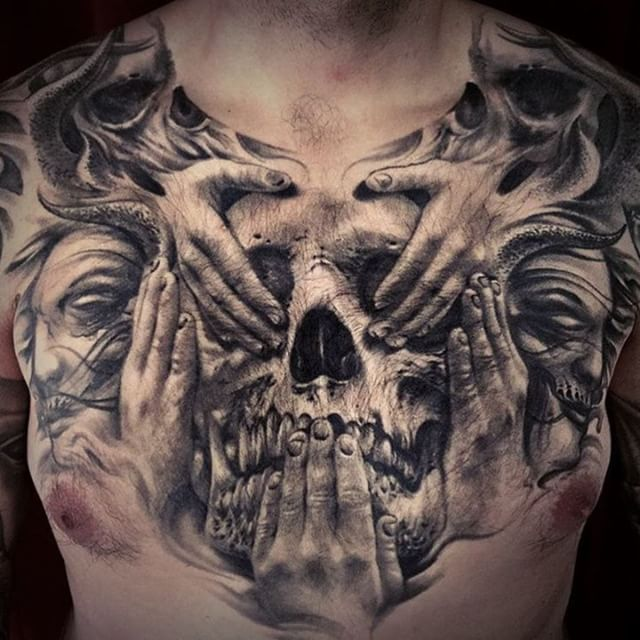 "Photo of Sullen Art Collective on Instagram: ""Healed see no evil, speak no evil, hear no evil chest panel done by #sullenfamily @carlgracetattoos #carlgrace #tattoo #bigc #sullenfamily…"""