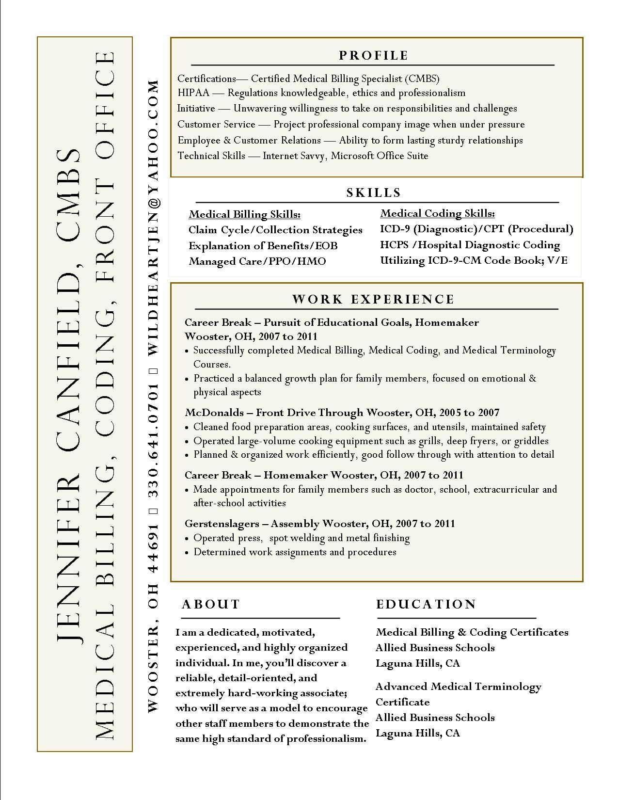 Jennifer Canfield Resume Medical Billing Medical Coding Resume
