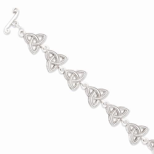 "NEW VATICAN LIBRARY COLLECTION SILVERTONE CELTIC TRINITY 7.5"" TOGGLE BRACELET"
