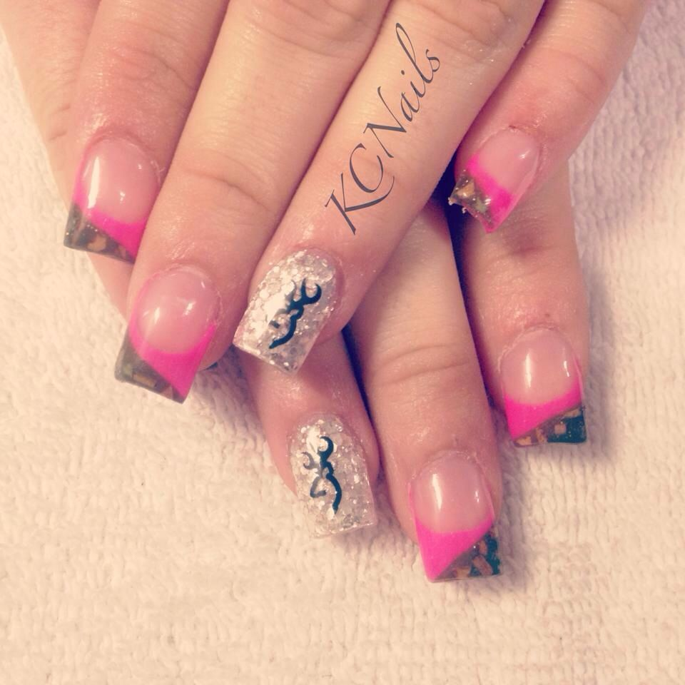 Browning for the bride-to-be. Camo and hot pink french tip acrylic ...