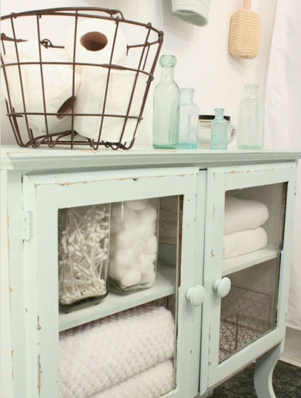 Shabby Chic Bathroom @Lolly Jane {lollyjane.com}, Put Glass Fronts Into  Doors Of A Shallow Cabinet