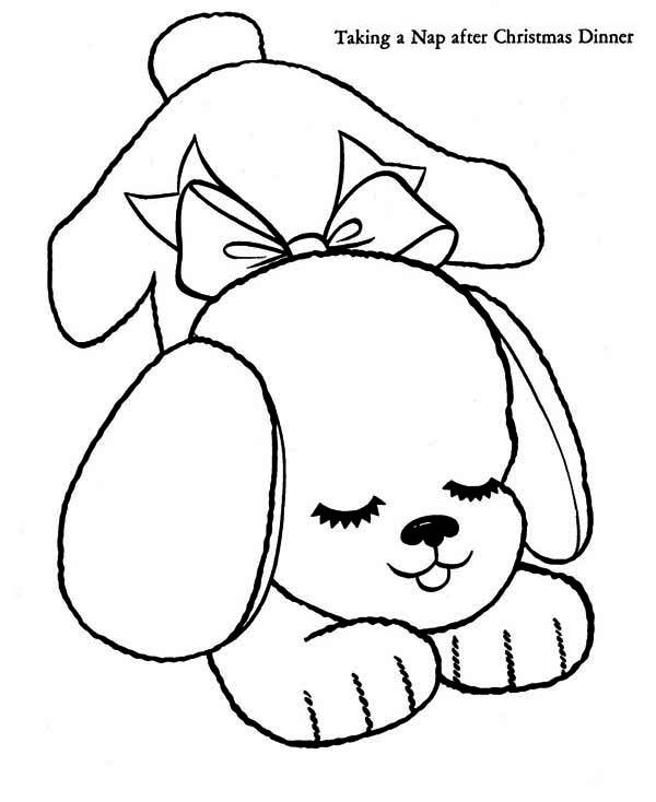Free coloring pages of a sleeping puppy Coloringofcom