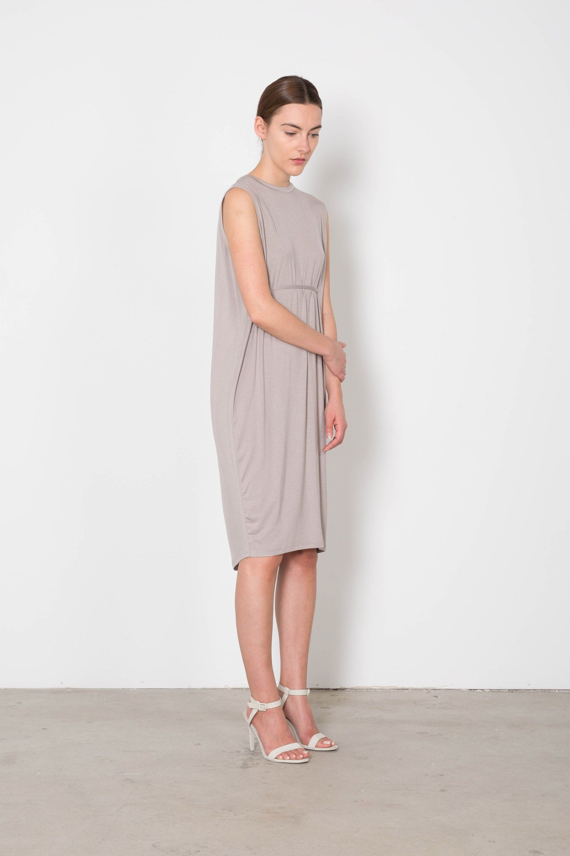 Womens Taupe Loose Tshirt Tie Dress   Front 2