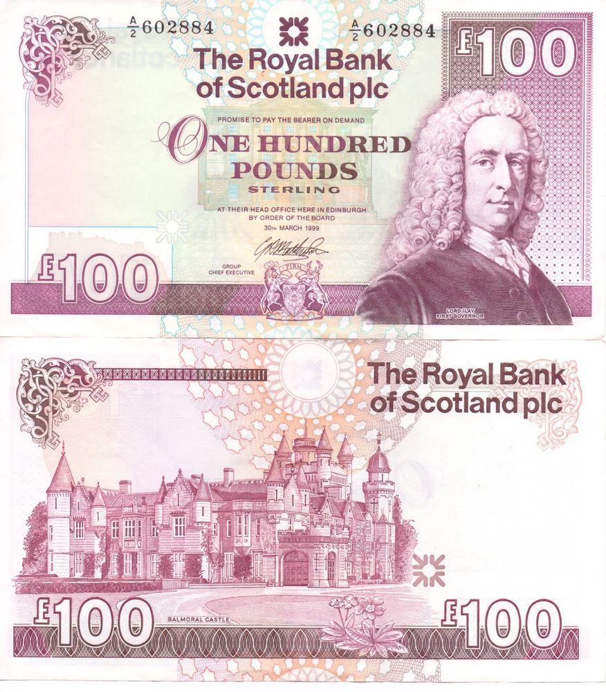 Royal Bank Of Scotland Crisp One Hundred Pound Note 100 Balmoral Castle One Hundred Pound Note Royal Bank Scotland Castle