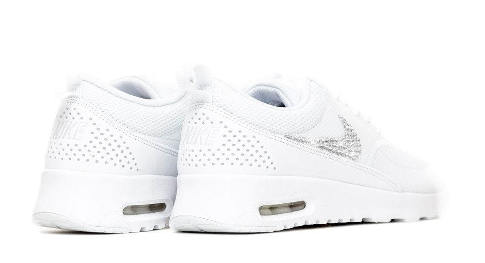 wholesale dealer df238 627d5 Nike Air Max Thea - Crystallized Swarovski Swoosh - Triple White - Glitter  Kicks