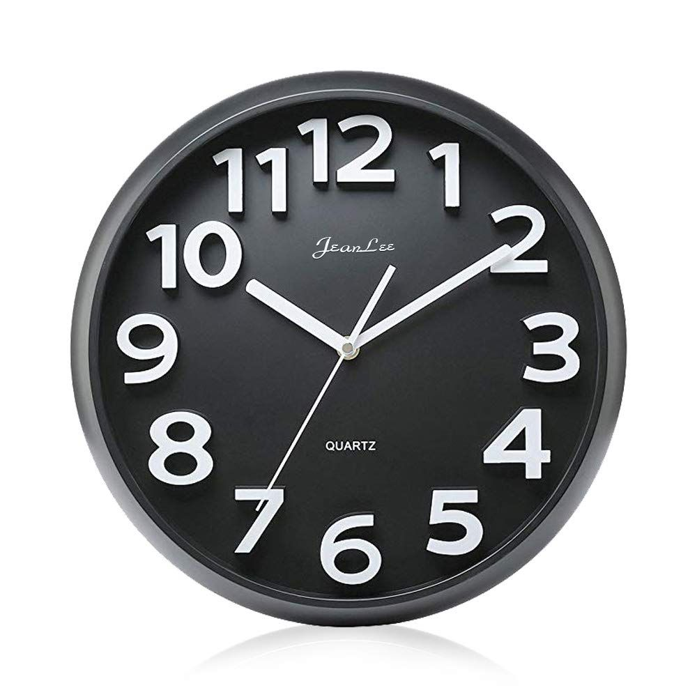 Gkwet 12 Inches Silent Non Ticking Large Wall Clocks Decorative Indoor Kitchen Clock 3d Numbers Display Round Easy To Read Battery Operated Wall Clocks Black Hodiny Med