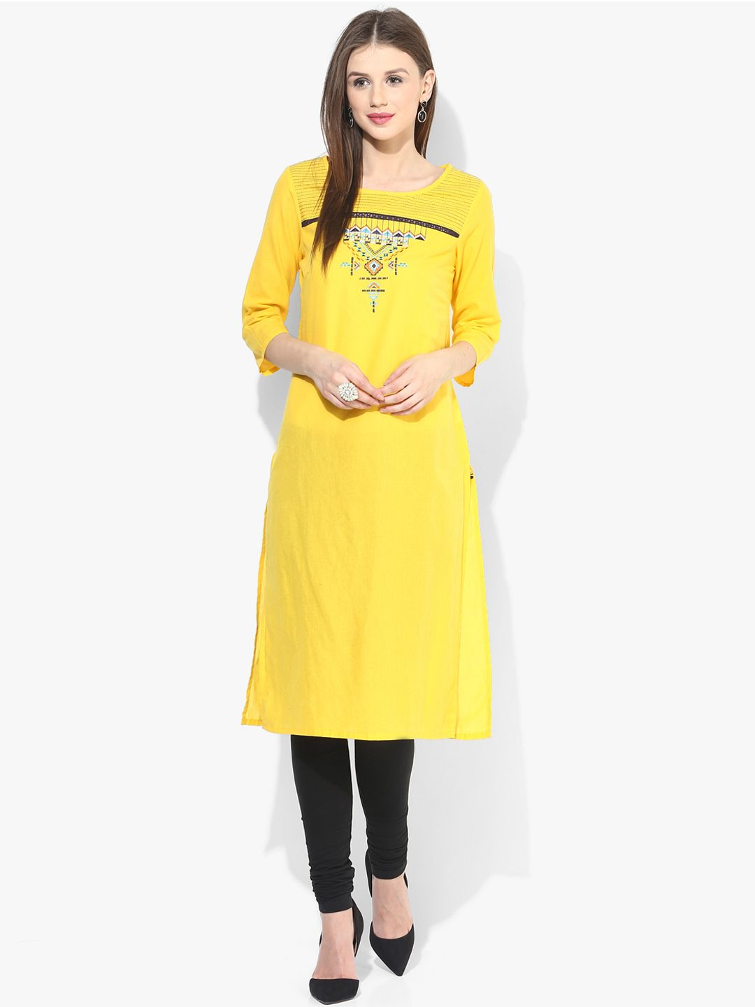 584ff84e785 Aurelia Cotton Festive Wear Yellow Kurti