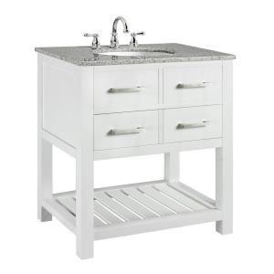 Fraser 31 In W X 21 5 In D Bath Vanity In White With Solid Granite Vanity Top In White With White Basin Granite Vanity Tops Marble Vanity Tops Vanity Combos