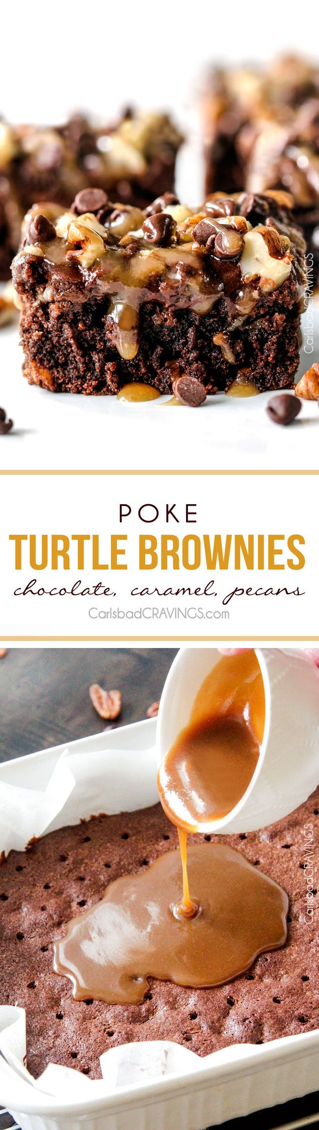 Crazy moist Poke Turtle Brownies seeping with pockets of caramel, infused with pecans and chocolate chips, smothered in the BEST chocolate frosting and topped with more caramel. the best brownies EVER! #turtlebrownies