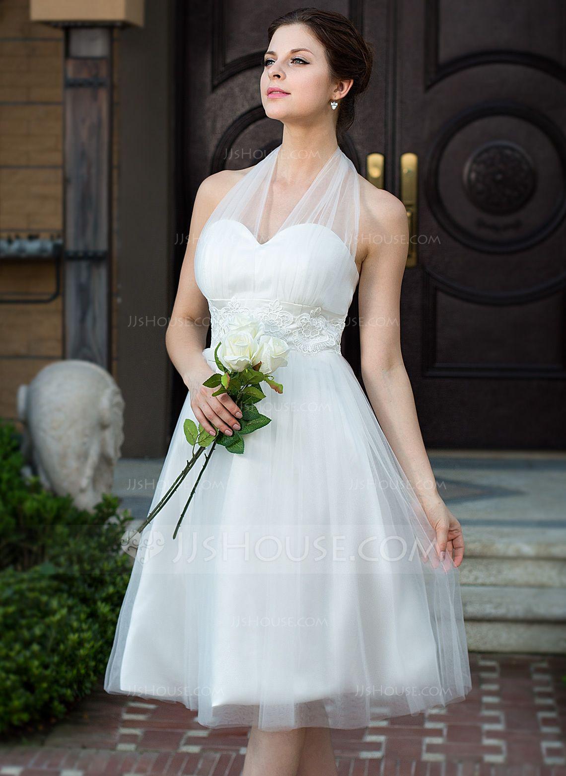 Halter Tea Length Wedding Dresses