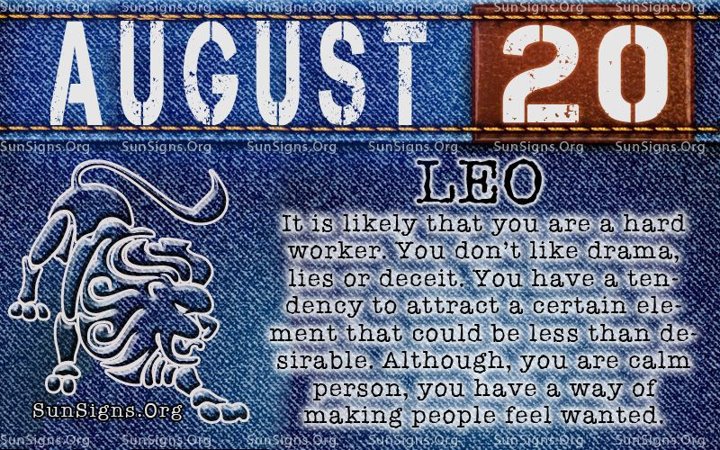 August 20 Zodiac Horoscope Birthday Personality Birthday