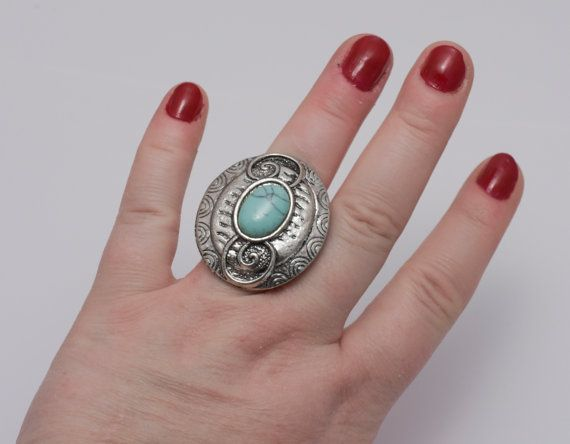 Ring with a turquoise stone turquoise ring by AlexandraInn on Etsy