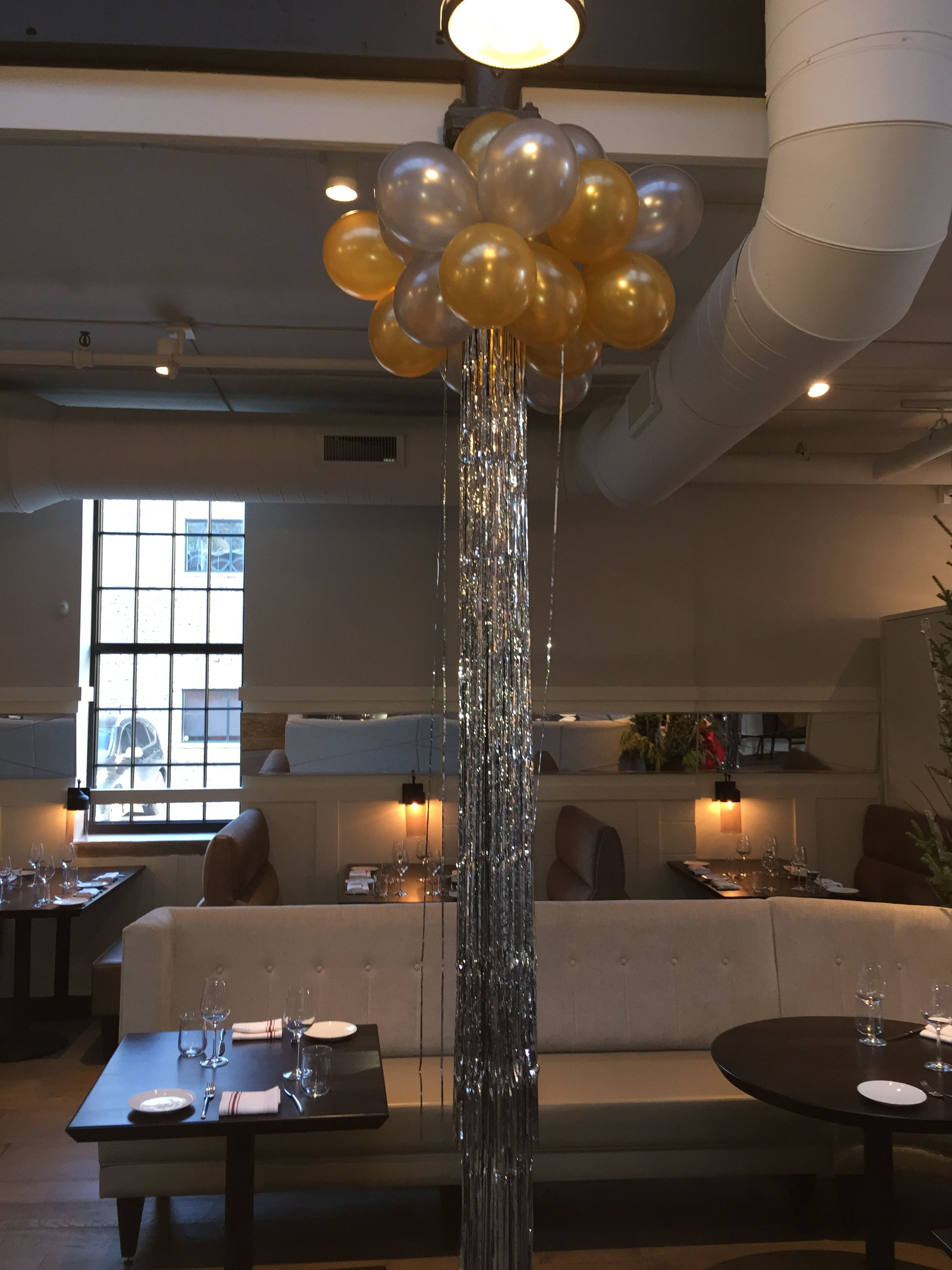 cluster of 11 balloons with mylar ribbon