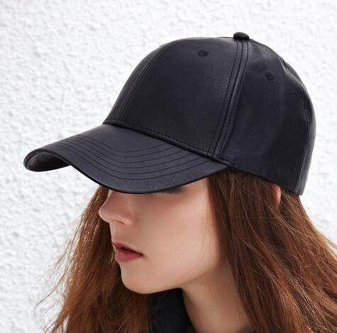 handsome pu baseball cap for women plain black sun hat