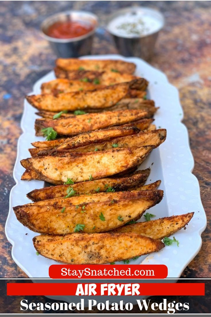 Easy Air Fryer Seasoned Potato Wedges is a quick and healthy recipe that uses fresh-cut russet potatoes, Herbes de Provence seasoning, and smoked paprika to produce crispy potato wedges with a soft interior. You can use your Power Air Fryer XL, Nuwave, or any brand for this dish. If you love KFC wedges or homemade French fries, you will love these! You can also use red potatoes or Yukon gold. #AirFryer #AirFryerPotatoWedges #russetpotatorecipes