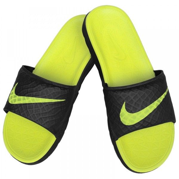 san francisco e72bc 6755b Nike Benassi Solarsoft 2 Slide Men s Sandals Black Volt ( 25) ❤ liked on