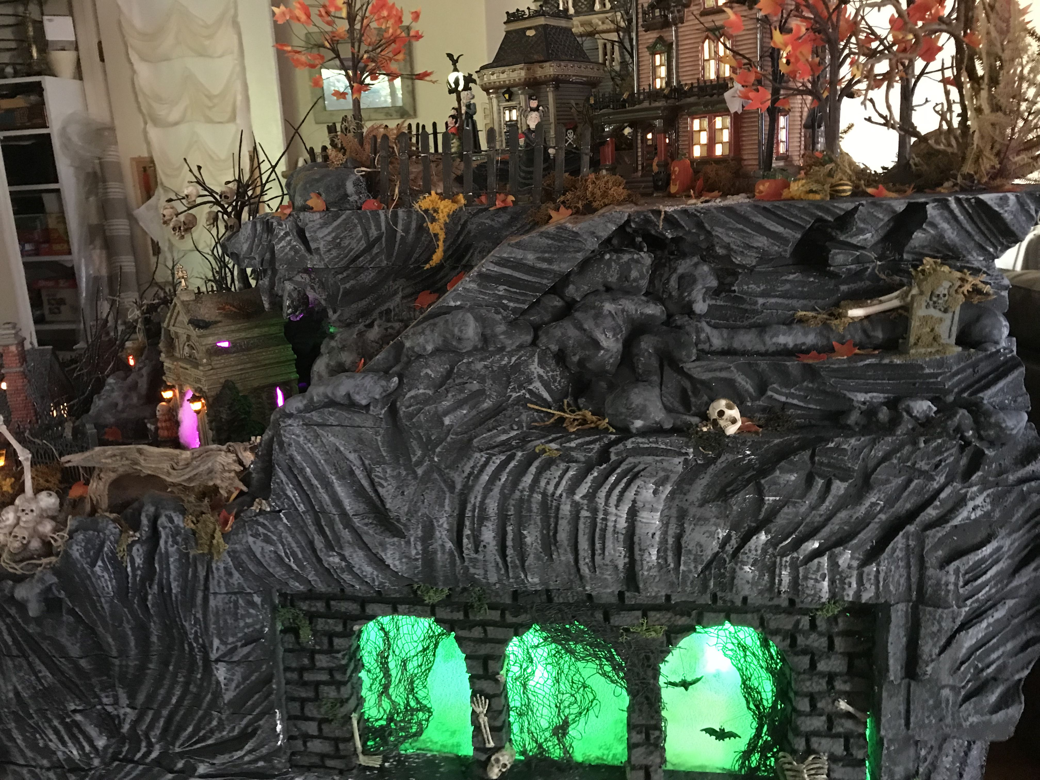 Halloween Village By Christi Lit Archways In Base Of Display