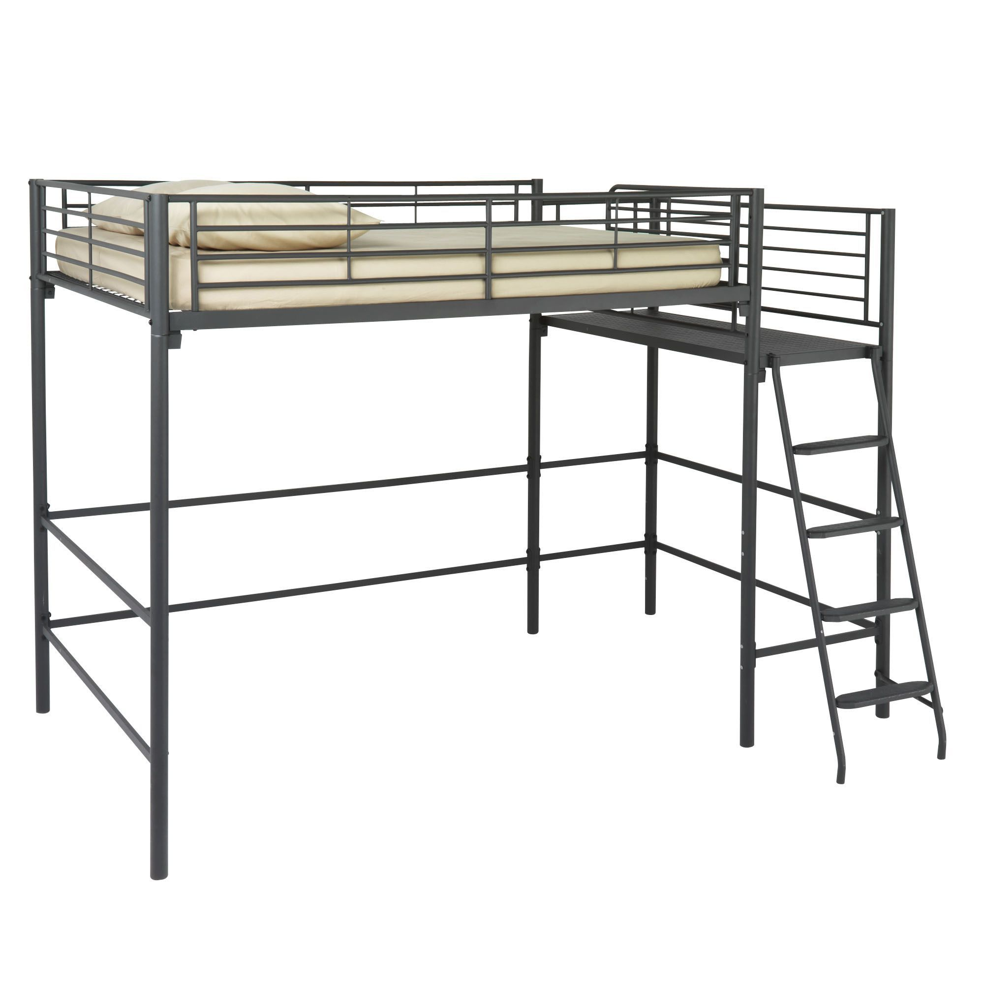 lit mezzanine avec plate forme 140x200 cm alexi new les lits alinea chambre sous sol. Black Bedroom Furniture Sets. Home Design Ideas