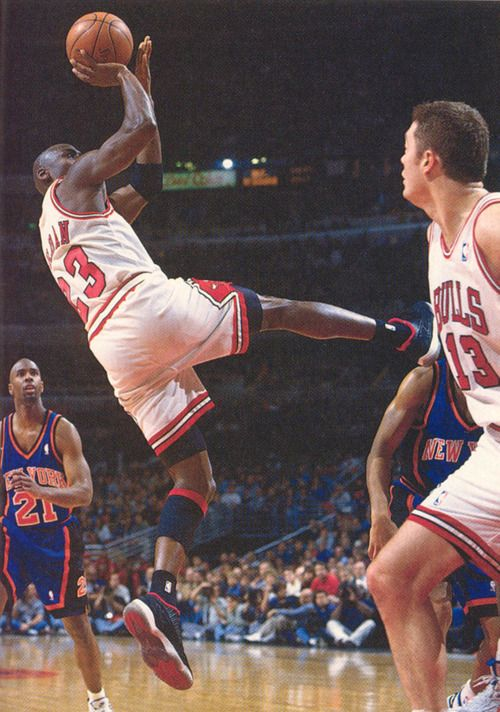 Michael Jordan Takes A Fade Away And In