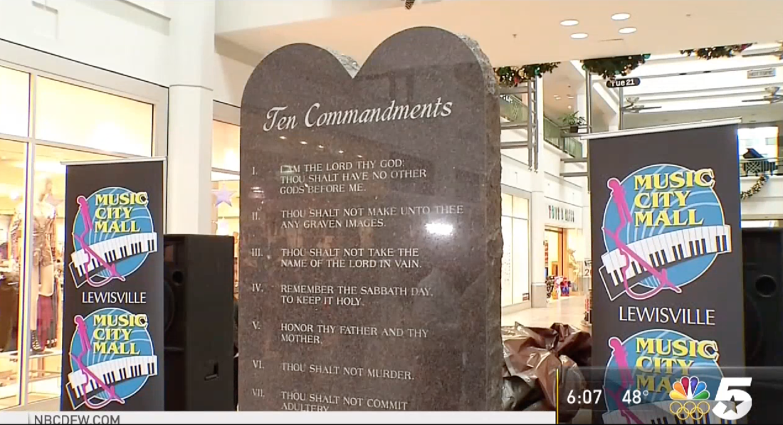 This Texas Mall Just Put Up A Giant Ten Commandments Monument