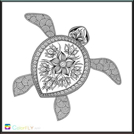 Intricate Sea Turtle Turtle Coloring Pages Coloring Pages Coloring Books