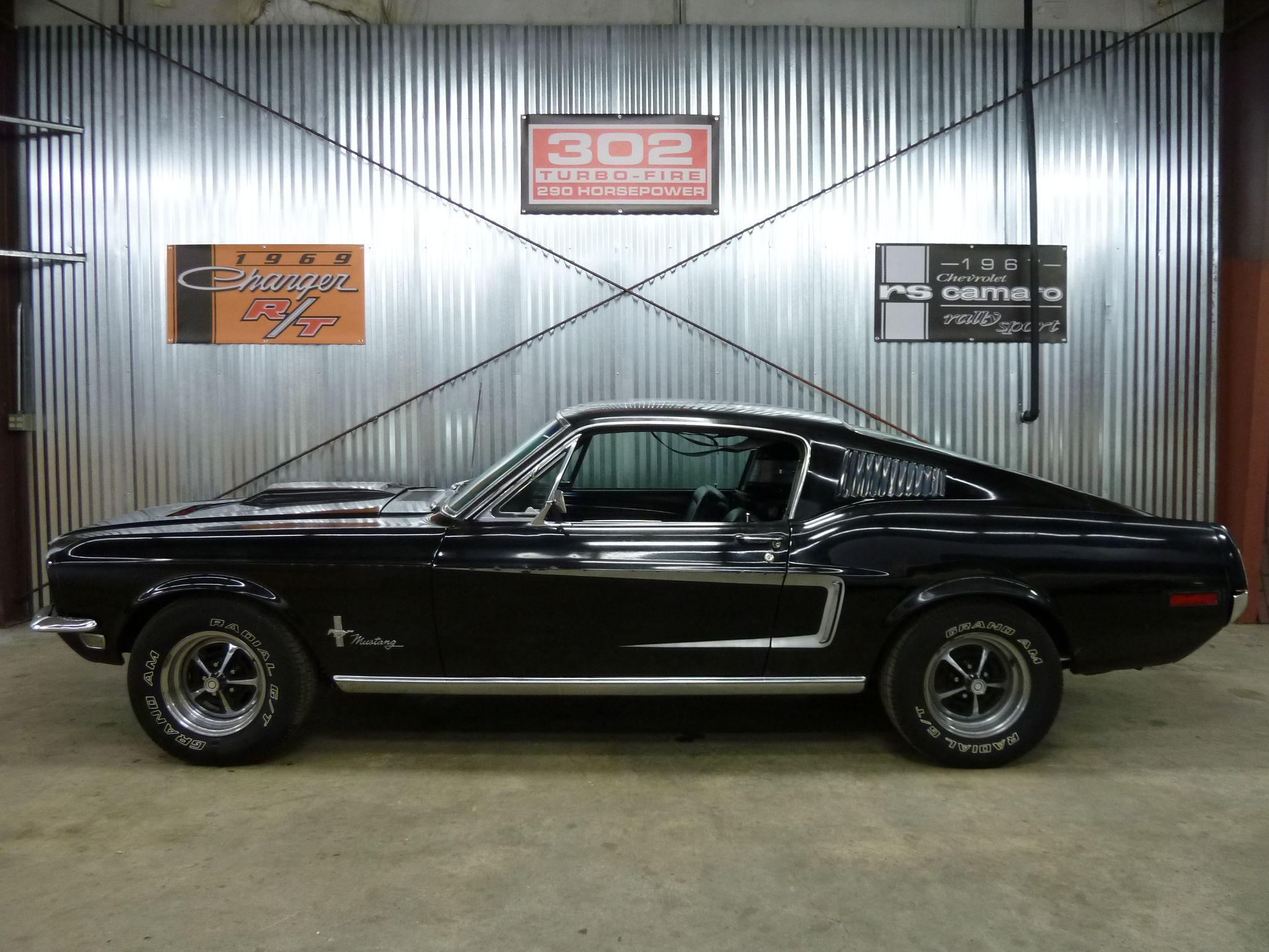 68 Mustang Fastback Black 390 5 Speed 017JPG 20481536  Cars