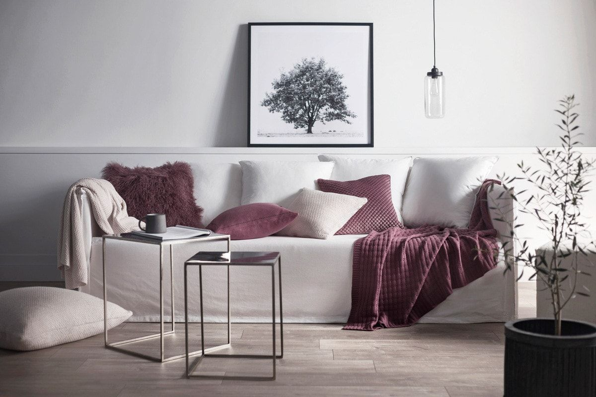 Muddy Pink Cushions On Light Grey Slipcover Sofa Grey Couch Living Room Grey Couch Decor Couch Decor