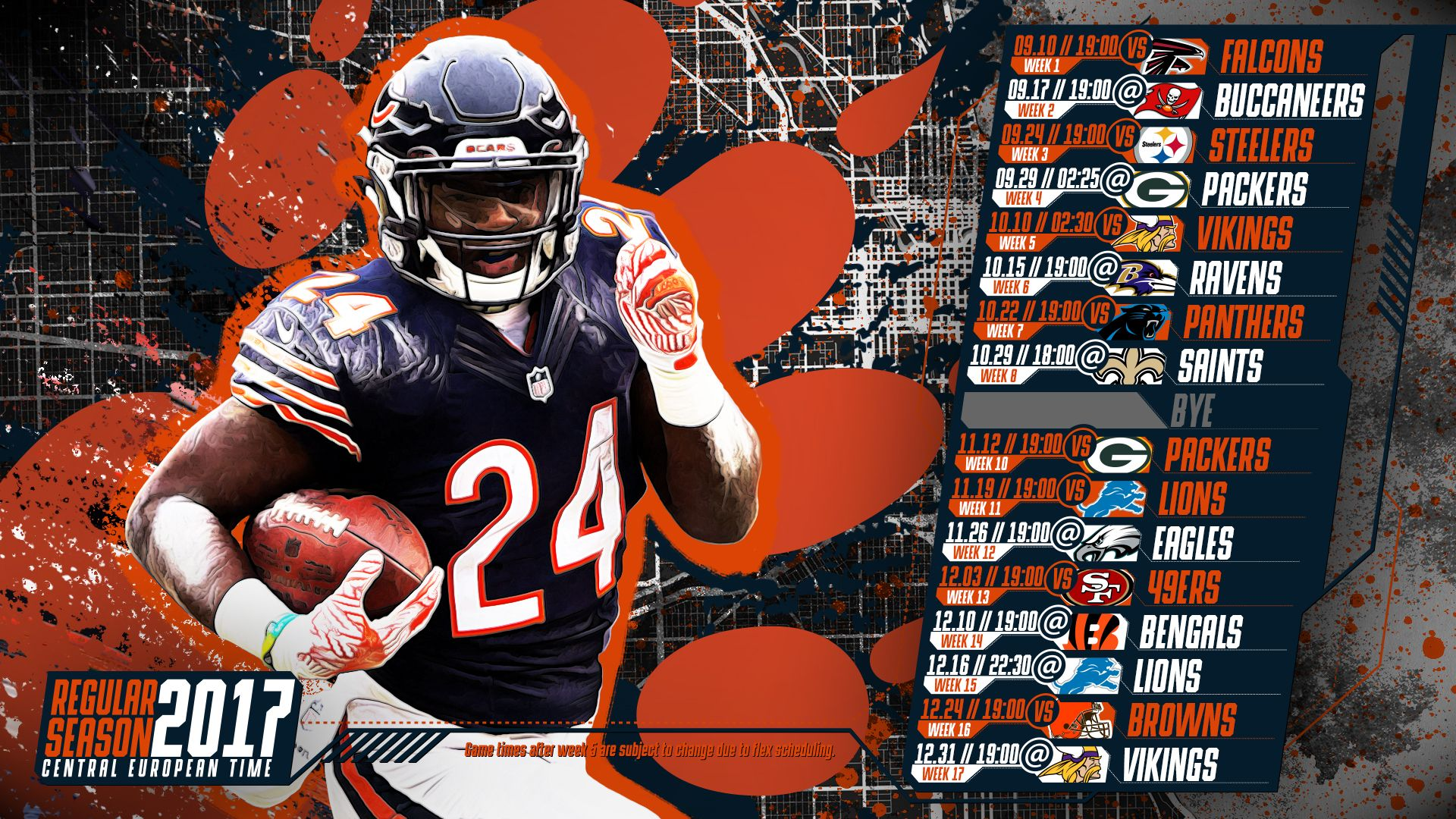 Schedule Wallpaper For The Chicago Bears Regular Season 2017 Central European Time Made By Tgersdiy Chicago Bears Chicago Bear