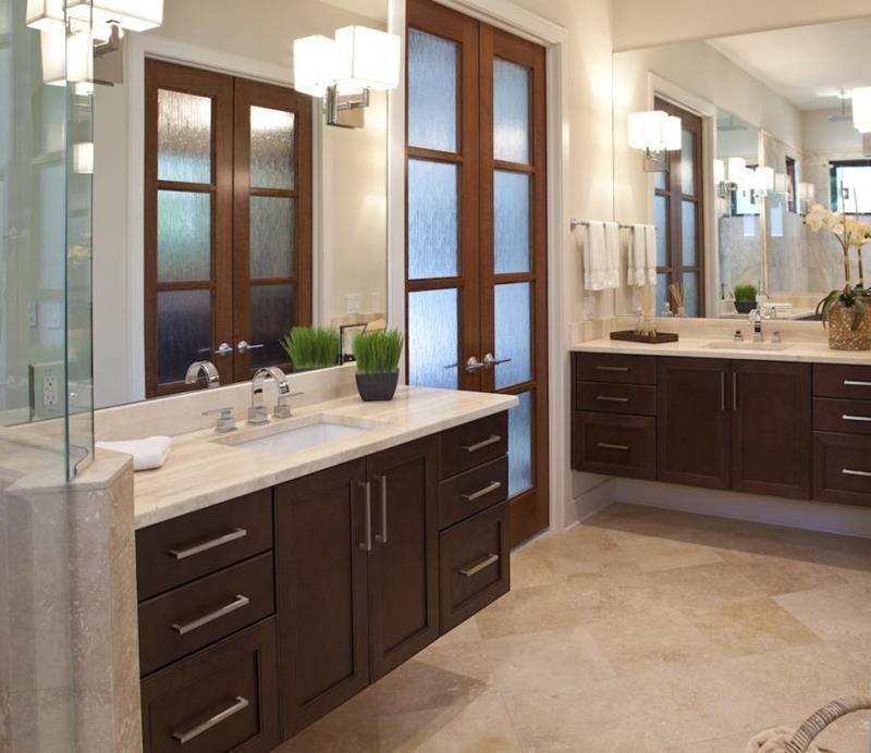 26 Beautiful Wood Master Bathroom Designs Dark Wood Vanity