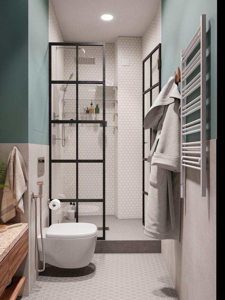 Badezimmer Dusche Türen Mit Schwarzem Rahmen Fliesen Wabenmuster Klein