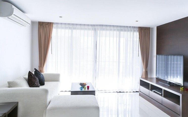 cortinas de color blanco oscuro para el saln moderno - Cortinas Salon Moderno