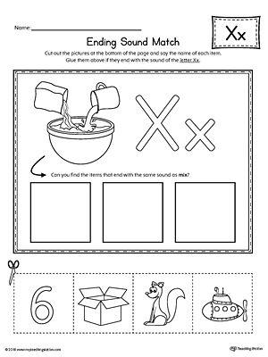 Letter X Ending Sound Picture Match Worksheet  Worksheets